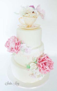 teacups peonies and sweet peas Wedding Cake  by Sharon Sadie May Cakes  - http://cakesdecor.com/cakes/247739-teacups-peonies-and-sweet-peas-wedding-cake