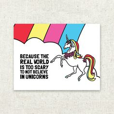 Greeting Card Rainbows and Unicorns by SableandSnow on Etsy, $4.00
