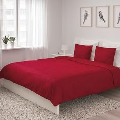 ÄNGSLILJA Duvet cover and pillowcase(s), red, King. Extra soft duvet cover in mild colors and with concealed snaps that keep the comforter in place. Red Duvet Cover, Quilt Cover Sets, Soft Duvet Covers, King Duvet, Queen Duvet, Comforters, Pillow Cases, Interior, Furniture
