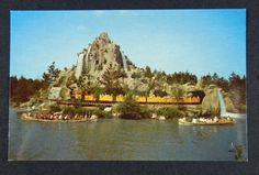 Vintage 1950s DISNEYLAND Frontierland Postcard Mine Train & Canoes, Unused