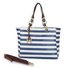 Perfect Michael Kors Striped Large Blue Satchels, Perfect You