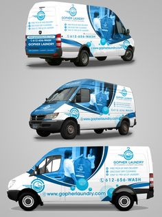 Gopher Laundry Van Design by randy mic Laundry Logo, Laundry Design, Van Design, Logo Design, Vehicle Signage, Vehicle Branding, Van Wrap, Truck Lettering, Laundry Business