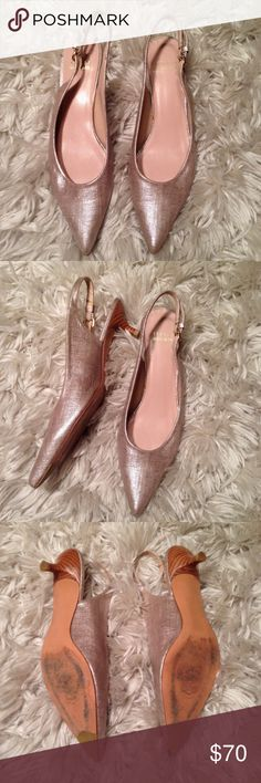 Stuart Weitzman Pointed Toe Pump These bad boys are classy! Good condition and no scuffs or flaws! These are a light pink gold similar to rose gold but a little lighter. Size 8 1/2 but fit more like an 8! Stuart Weitzman Shoes Heels