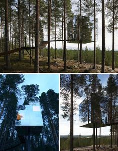 The Tree Hotel in Sweden is barely visible between the trees. It literally reflects its environment. It is a 12'x12' box with a full size bed, table with 2 chairs and a bathroom.