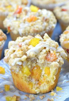 Peach Crumb Muffins are fluffy homemade muffins perfect for breakfasts and snacks. Moist and flavorful muffins loaded with fresh summery peaches, finished with sweet, buttery, cinnamon streusel crumb Peach Muffins, Lemon Blueberry Muffins, Breakfast Muffins, Best Breakfast, Breakfast Pastries, Strawberry Muffins, Savory Muffins, Breakfast Ideas, Breakfast Recipes