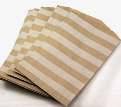 20 Medium Brown Kraft 5 x 7.5 paper bags with HORIZONTAL stripes - Packaging, Party Favors, Treats, Retail. $5.95, via Etsy.