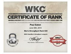 WKC STRONG SPORT RANK CERTIFICATE SS30