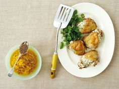 Roasted Chicken Thighs with Herbed Goat Cheese Stuffing recipe