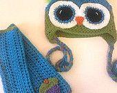 Owl Hat & Matching Cupcake Fingerless Gloves
