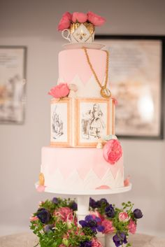 Raleigh wedding photographer Mikkel Paige captures Mim's House opening night, with an Alice in Wonderland theme pink lace cake.