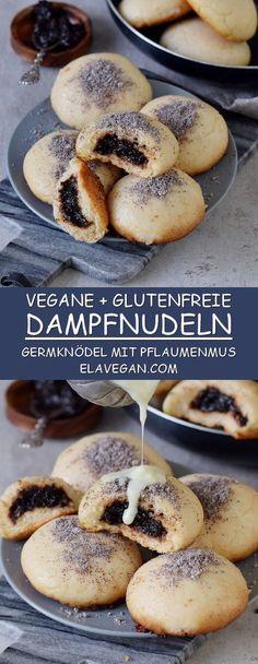 Rezept für glutenfreie, vegane Dampfnudeln mit Pflaumenmus, Vanillesoße und Mohn. Diese Germknödel sind ein leckeres Dessert aus Hefeteig #vegan #pflanzlich #glutenfrei #dampfnudeln #germknödel | elavegan.com/de