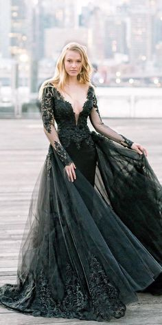 gothic wedding dresses black with illusion long sleeves lace overskirt pninatornai ? gothic wedding dresses black with illusion long sleeves lace overskirt pninatornai ? Wedding Dress Black, Black Wedding Dresses, Elegant Dresses, Pretty Dresses, Beautiful Dresses, Sexy Dresses, Summer Dresses, Formal Dresses, Black Weddings
