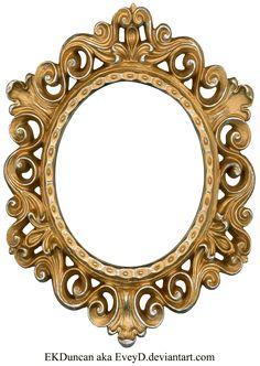 Vintage Gold and Silver Frame - Oval by ~EveyD on deviantART