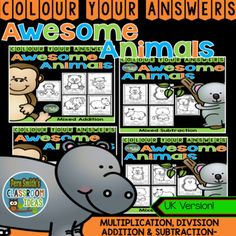 Very high interest and wonderful for small group, homework, tutoring, morning work, seat work, centers, you name it! 20 Awesome Animals Colour Your Answers Worksheets for Mixed Addition, Subtraction, Multiplication and Division, Colour By Code Bundle UK - 20 Colour Coded Answer Keys. This Adorable Resource has * Five Mixed Multiplication pages. * Five Mixed Division pages. * Five Mixed Multiplication pages * Five Mixed Division pages and * 20 Colour Coded Answer Keys…