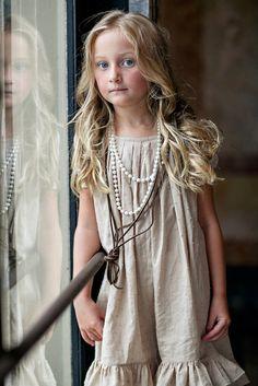 Girls Wheat PEYTON Cotton swiss dot Pleated Dress by lillagrey