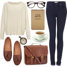A fashion look from April 2013 featuring long sleeve sweater, tall jeans and brown loafers. Browse and shop related looks. Student Fashion, Work Fashion, Skirt Fashion, Fashion Outfits, Womens Fashion, Curvy Fashion, Fashion Fashion, Fashion Tips, Fashion Trends