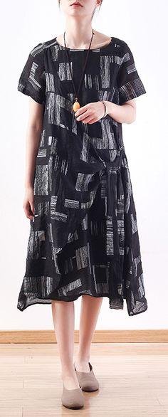 b6b5b9f75eb Beautiful black linen clothes tie waist long summer prints Dresses #blackdress#linendress#oneckdress