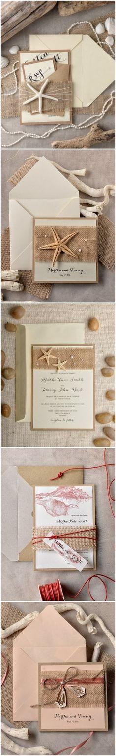 Rustic country burlap beach wedding invitations #beachweddings #rusticweddings