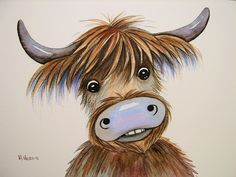 Cartoon highland cow painted by Maria Moss Highland Cow Painting, Highland Cow Art, Highland Cattle, Cartoon Drawings, Animal Drawings, Farm Cartoon, Cow Drawing, Cute Cows, Bull Cow