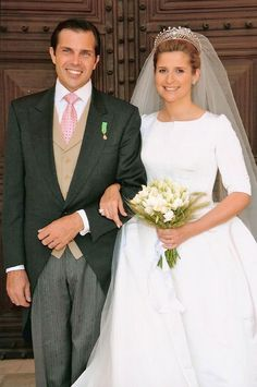 Diana, Duchess of Cadaval and her new husband, Prince Charles Philippe, Duke of Anjou, on their wedding day.