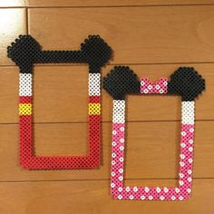 Mickey and Minnie Mouse frames  perler beads by Pink's shop