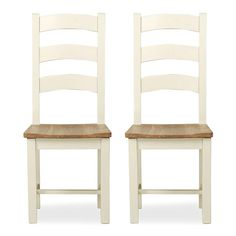 Wilby Cream Pair of Slatted Dining Chairs | Dunelm