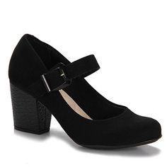 Sapato Boneca Salto Feminina Moleca - Preto