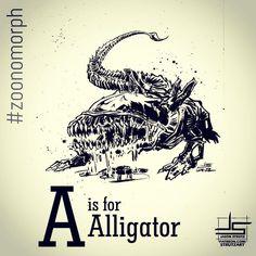 A is for Alligator. Zoonomorph March daily drawing #zoonomorph #art #illustration #picoftheday #instaart #instadraw #alien #zenomorph #abc #ink