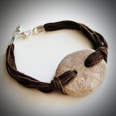 Love!...Beach Rock & Suede Leather bracelet from JewelryByMaeBee on Etsy. $22