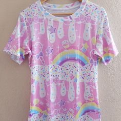 ☆ rainbow sweets ☆ pink all over print t-shirt made to order ✧ fairy kei ✧ decora kei