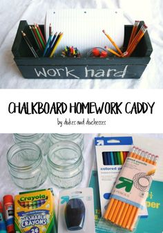Make homework time simpler by gathering all the needed supplies in a chalkboard homework caddy that can be personalized as desired! Back To School Kids, Back To School Shopping, The New School, New School Year, School Fun, School Ideas, Homework Caddy, Homework Organization, Homework Station