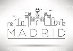 La ciudad de Madrid de diseño de silueta tipográfica illustracion libre de derechos libre de derechos