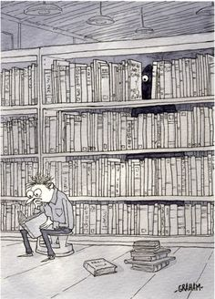 GRAHAM ANNABLE - Beware of the stacks. The Late Library - item by tor Got Books, I Love Books, Books To Read, Reading Library, Library Books, Librarian Humor, Book People, Humor Grafico, Lectures