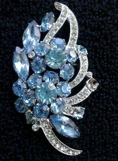 Vintage Eisenberg Signed Light Blue Rhinestone Brooch | eBay