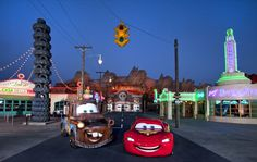 Lightning McQueen and Mater on Route 66 in Cars Land at Disney California Adventure Park