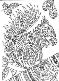 Adult Coloring Pages Books Draw Animals Art Therapy Squirrel Drawing Ideas Paper Plastique