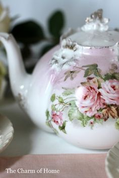 The Charm of home, at the Cottage Tea Pottery Tea Cup Saucer, Tea Cups, Cafetiere, Cuppa Tea, Tiffany Glass, Teapots And Cups, Tea Art, My Cup Of Tea, Rose Cottage