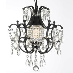 Versailles 1-Light Black Mini Chandelier with Crystal-T40-429 - The Home Depot