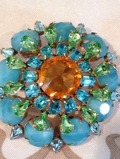Schreiner Signed Brooch Turquoise Color Stones Pear Aquamarine Rhinestones