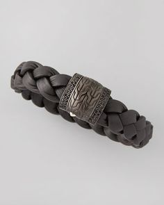 Men\'s Black Bronze Braided Leather Bracelet, Black by John Hardy at Neiman Marcus.