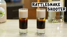 RATTLESNAKE SHOOTER 1 Part Coffee Liqueur 1/2 Part White Creme De Cacao 1 Part Irish Cream PREPARATION 1. Pour coffee liqueur into base of shot glass then layer white creme de cacao on top. 2. Finish by layering irish cream on top. DRINK RESPONSIBLY!