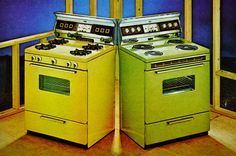 Harvest Gold and Avocado 1970s appliances , I actually had the fridge and stove in the avocado up to maybe the late 80 when it quit.