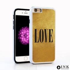Love Typography Quote on Gold Cell Phone Case / TPU iPhone Case iPhone 6 iPhone 6S Plus Case iPhone 5s Galaxy s5 Galaxy s6