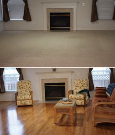 """Show your living room some love: """"The living area looks much bigger than with the carpet!!! Highly recommend."""" [Natural Red Oak]"""