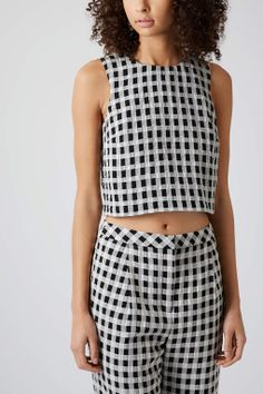 Textured Gingham Shell Top- Topshop