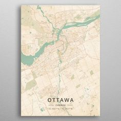 Ottawa, Canada - Vintage Map Canvas Print by designermapart Map Canvas, Canvas Art Prints, Ottawa Canada, Map Art, Print Artist, Medium Art, Cool Artwork, Just For You, Posters