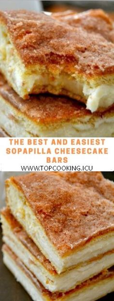 These Sopapilla Cheesecake Bars are to-die for! Rich, creamy, cinnamon sugary de… These Sopapilla Cheesecake Bars are to-die for! Rich, creamy, cinnamon sugary delights that are a cinch to make! Yummy Recipes, Brunch Recipes, Mexican Food Recipes, Dessert Recipes, Yummy Food, Desserts, Fun Food, Cinnamon Recipes, Dessert Blog