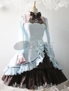 Lolita Dresses / Attractive Blue Brown Satin Classic Womens Lolita Dress / http://www.thdress.com/Attractive-Blue-Brown-Satin-Classic-Womens-Lolita-Dress-p1286.html