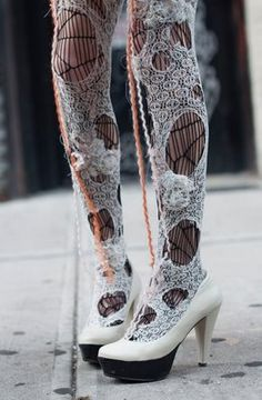 Shredded layered tights