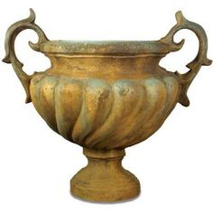 Giant Baroque Urn Planter in Deep Sea Finish from The Well Appointed House Urn Planters, Outdoor Planters, Flower Planters, Planter Ideas, Garden Accessories, Decorative Accessories, Garden Urns, Garden Statues, Steampunk Design
